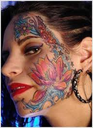 women facial tattoo